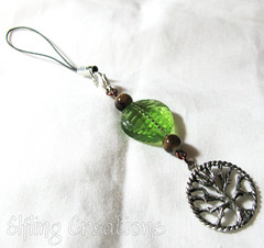 Tree and leaf cell phone charm