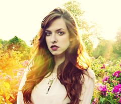 Summer Chill (xeniakoneva) Tags: park flowers sunset summer portrait sun tree green colors girl beauty garden photography evening ginger warm hyde chill