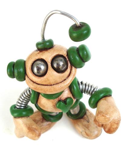 Green Glen Grungy Bot Robot Sculpture by HerArtSheLoves
