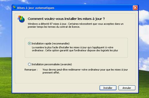 87 mises à jour pour le Service pack2 de Windows XP...