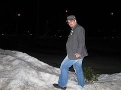 Boris in a snow bank in Boston MA