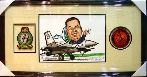 Caricature Singapore Air Force framed with badges