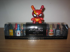 Rouge le Fou (28.365 3.03.08) (midnightglory) Tags: food mist toy actionfigure chocolate vinyl whiskey malibu kidrobot cuttysark rum cognac jackdaniels camus dunny liqueur triplesec grandmarnier scotchwhisky oneobject365daysproject dunnyseries4 rougelefou