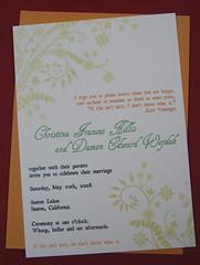 Chris & Damon's invitations (Heatherjeany) Tags: wedding screenprint gocco invitation custom stationery heatherjeany