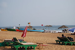 ready for sun bathing in goa (pallav moitra) Tags: beach goa anjuna panjim mandovi zuari baghator