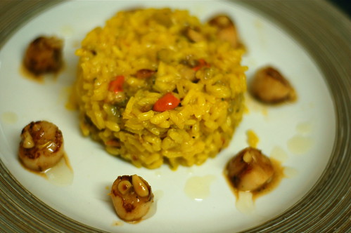 Saffron risotto with pan fried queenie scallops and orange and toasted pine nut butter