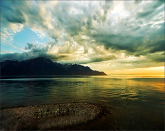 Postcard from Montreux (Katarina 2353) Tags: sunset summer sky lake storm mountains reflection film tourism water beautiful landscape photography switzerland coast nikon flickr view suisse geneva image swiss postcard silhouettes wave paisaje romantic paysage priroda jazzfestival montreux lacleman genf lakeofgeneva tjkp pejza lepalaisoriental katarinastefanovic katarina2353