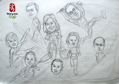 Group caricatures for Microsoft APAC Team pencil sketch