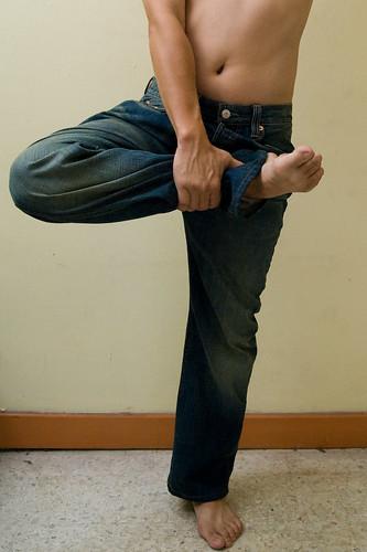 yoga on Levi's 501