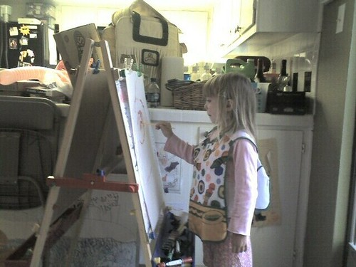 Cassie painting a pic of Fuzzy Wuzzy the gerbil. RIP.