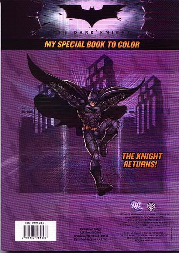 Back cover of The Knight Returns coloring book
