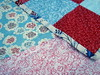 girls red blue patchwork quilt back, binding