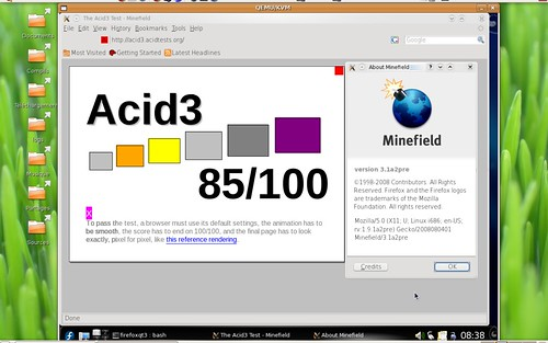 Acid3 sous Shiretoko en version QT