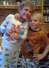 ben and josh in pokemon & scooby doo (alist) Tags: alist pajamas robison 66214 ajrobison benjaminrobison joshuarobison