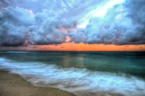 ocean beach water clouds sunrise landscape sand waves florida palmbeach hdr 5photosaday img8883