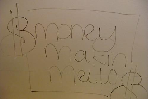 gesprayter Schriftzug 'money making mello'