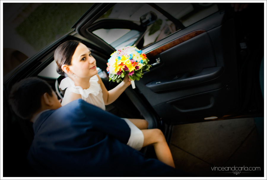 getting out of the car limo wedding flower door