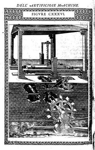 11- Maquina utilizada para aserrar madera con la fuerza hidraulica obtenida de un canal de agua