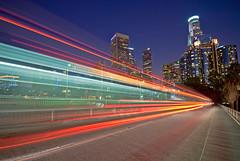 L.A. bus in motion (Michael Bandy) Tags: longexposure bus nikon lighttrails downtownla losangelesskyline sigma1020mm 4thst lightstream laskyline d80 nikond80 top20la