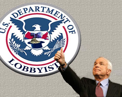 john mccain, thumbs up, department of lobbyists, photoshop, ethics reform, corruption, keating five