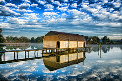 A Brand New Day (avirus) Tags: morning cloud mist reflection water bay coast maryland boathouse chesapeakebay leonardtown