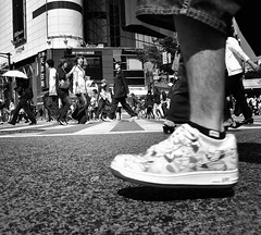 far you will go (ajpscs) Tags: life street city people bw japan japanese tokyo blackwhite nikon shibuya streetphotography  nippon  intersection  d300  scramblecrossing monokuro ajpscs