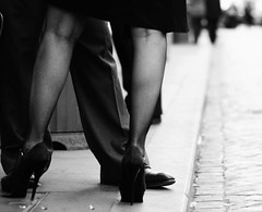 high heeled conversation (juliusfrumble) Tags: street woman man nikon highheels candid sidewalk conversation