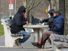 in Brooklyn, seniors can walk to a chess game (by: Lou Bueno, creative commons license)