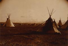 Edward S. Curtis: Piegan encampment, ca. 1900 (trialsanderrors) Tags: sepia nativeamerican 1900 libraryofcongress americanindian encampment teepees tipis edwardscurtis piegan