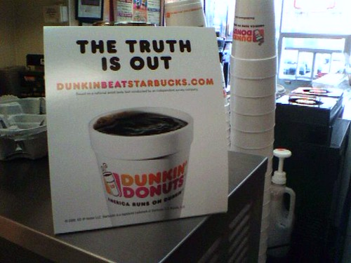 Photo: Signage, Dunkin Donuts beat Starbucks