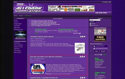 Ticobot anunciado en Allspark.com