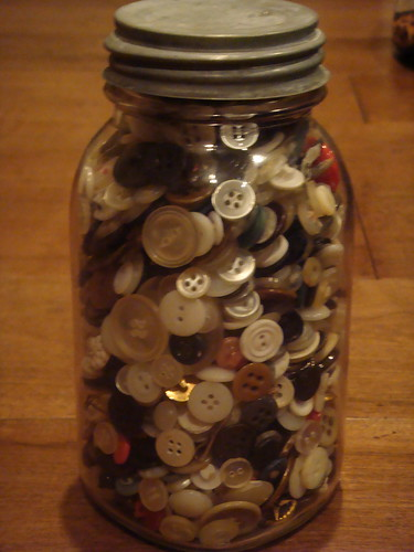 vintage jar of buttons