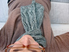 day 47 of 365 : 'nother day, 'nother new scarflet. ({ philistine made }) Tags: scarf knitting lace knitty scarab veronikavery chasingrainbowsdyeworks merinotencel laceribbonscarf