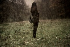 (gre4eskij_nos) Tags: cold nature girl grass female forest dark scary spooky relief horror escaped