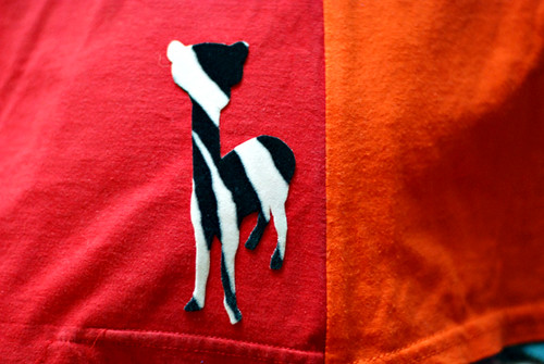 zebra print alpaca applique
