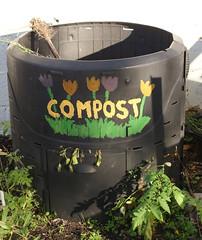 compost bin (durhamskywriter) Tags: nc durham south northcarolina handpainted compostbin