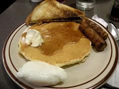 breakfast @ midnight (Priscilla P) Tags: food breakfast toast egg sausage meal midnight pancake dennys
