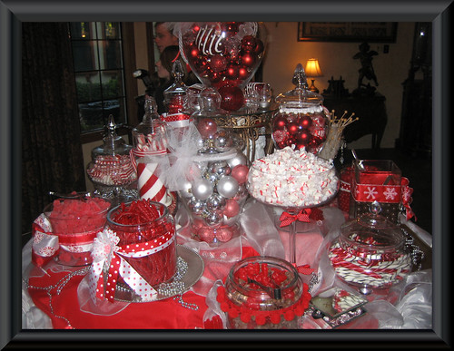candy buffet wedding. red and white candy buffet