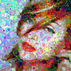 Queen of Pops (Village9991) Tags: people composition digital mosaic madonna deception mosaics photomosaic illusion ciccone pointillisme village9991