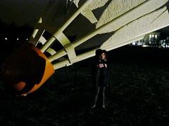 Isabella and a Shuttlecock (jolynne_martinez) Tags: park city sculpture museum gallery walk nelson kansas atkins van luminaria shuttlecock oldenburg coosje claes bruggen shuttlecocks