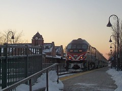 Southbound Metra commuter local at sunrise. Glenview Illinois. Febuary 2008.