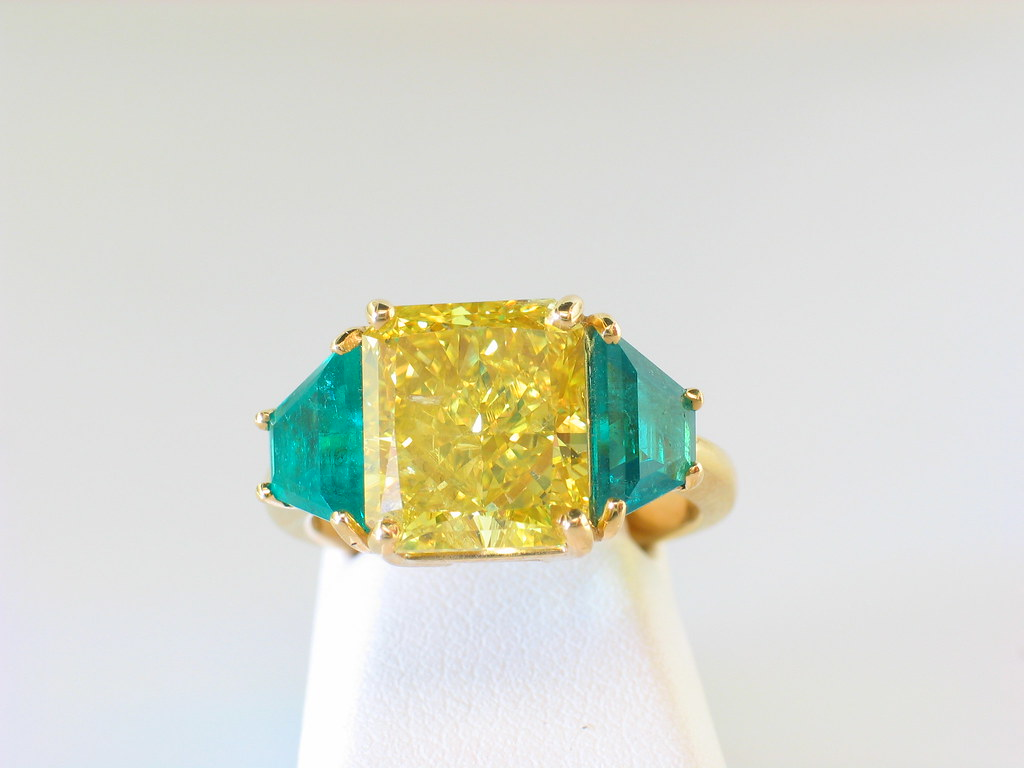 Large Vivid Yellow Diamond & Emerald Ring