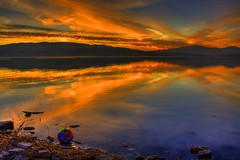 Mickey Mouse Sunset (INCABULUS) Tags: sky mountain art beach nature water colors beautiful clouds contrast photoshop canon landscape utah cool perfect unique sunsets adobe unusual dslr hdr hotshots utahlake xsi lightroom utahcounty photomatix tonemapped anawesomeshot digitalphotoart grouptripod digitalartfx flippingrpcks