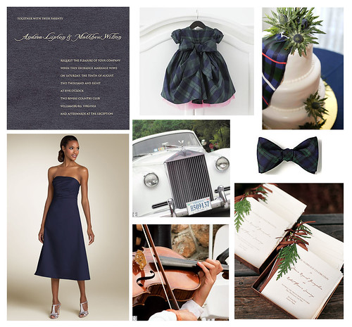 Tartan blue and green plaid winter wedding inspiration board.
