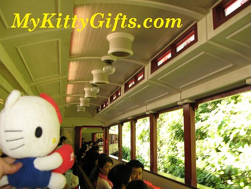 Hello Kitty enjoying Trsin Ride in Hong Kong Disneyland