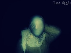 The Invisible Man  (yusuf_alioglu) Tags: light portrait white man black green face blackbackground self person photography photo flickr peace photographer invisible fear panasonic hidden human horror sheet greenlight amateur invisibleman unforeseen secretface invisibleface yusufyusuf85 cottonmaterial picasa3 yusufalioglu