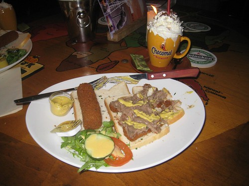 kroket and hot chocolate