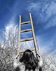 (DeLaRam.) Tags: blue sky explore need noedit ladder mahsa goingup takemyhand  bwworld  towardu