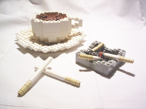Lego made cigarette and coffee