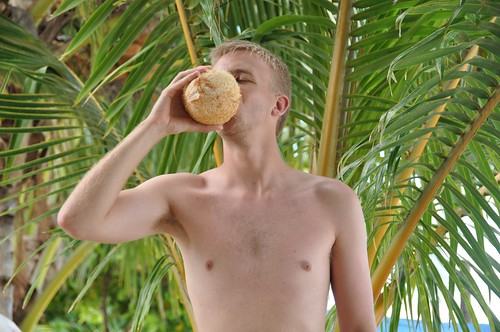 Me enjoying coconut milk